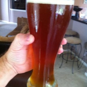 Another Picture of my Kolsch, or the Pilsner recipe with German/Kolsch ale yeast. I was trying to get some light through it. It tastes great! Caramelly, hoppy, and beery! Lots of body and very thirst quenching.