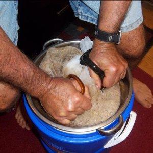 Pressing the grain bag