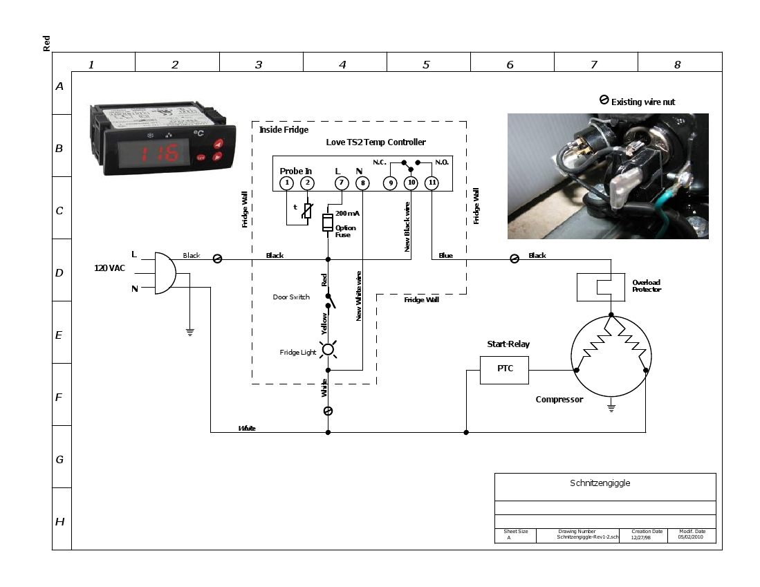 need wiring help now home brew forums i m installing my love controller into my kegerator now and claudius b was kind enough to draw me up a wiring schematic