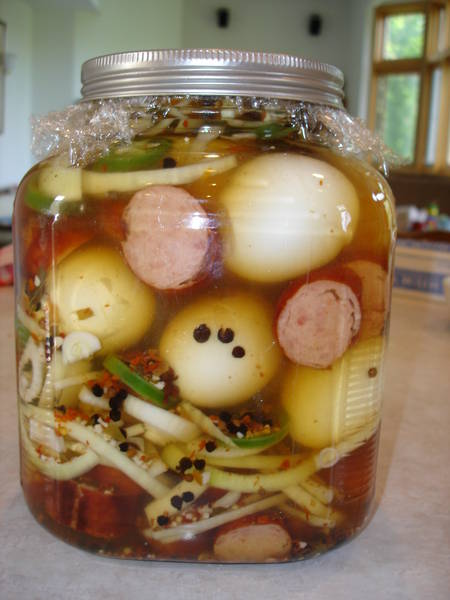 Spicy Pickled Eggs Pickled eggs & sausage