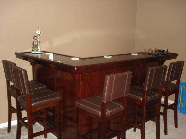 Mahogany finish l shaped bar w built in kegerator home brew forums Home bar furniture with kegerator