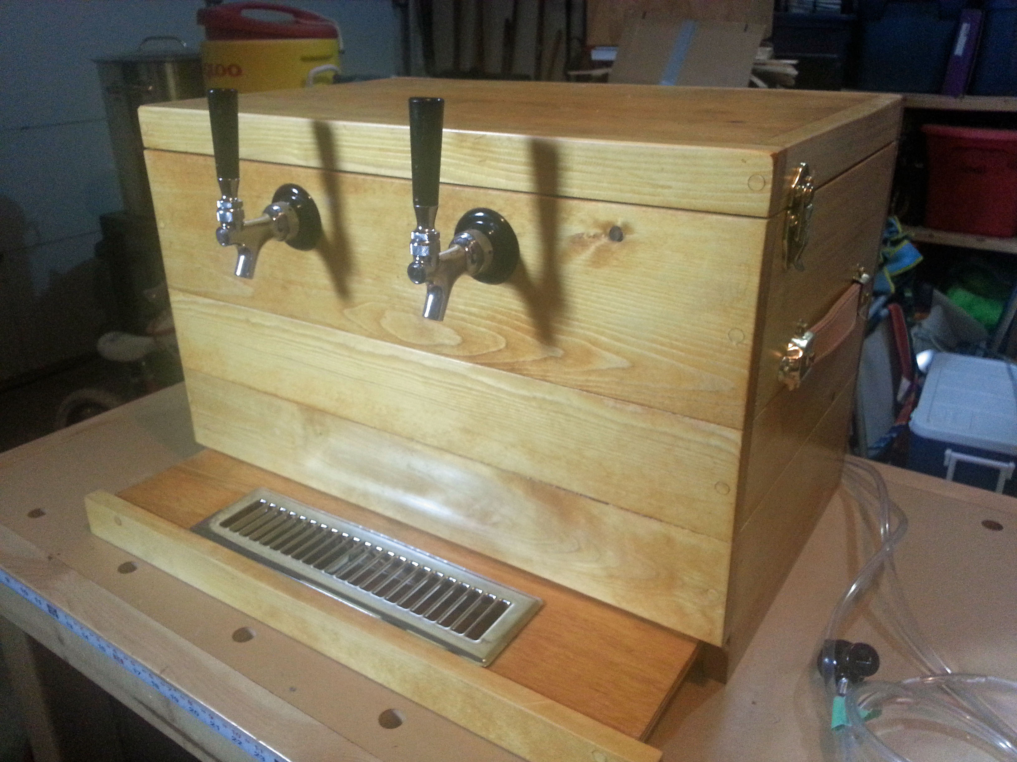 My wooden jockey box home brew forums Home bar furniture with kegerator